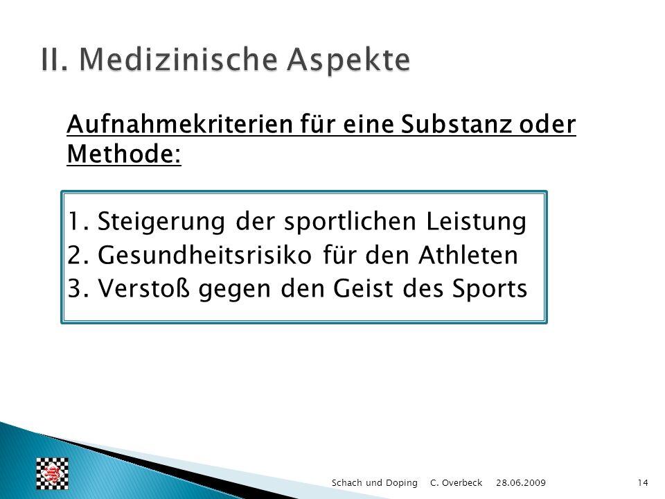 Aufnahmekriterien für eine Substanz oder Methode: 1. Steigerung der sportlichen Leistung 2. Gesundheitsrisiko für den Athleten 3. Verstoß gegen den Ge