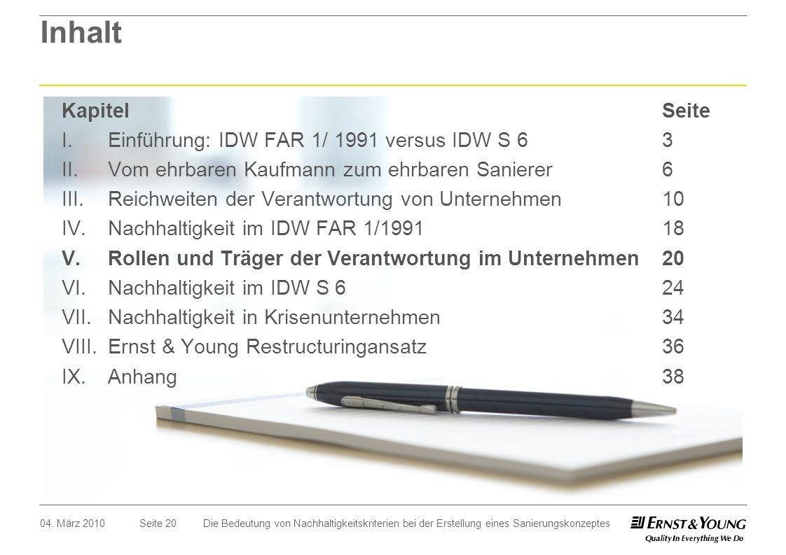 Seite 20 Inhalt 04. März 2010Die Bedeutung von Nachhaltigkeitskriterien bei der Erstellung eines Sanierungskonzeptes I.Einführung: IDW FAR 1/ 1991 ver