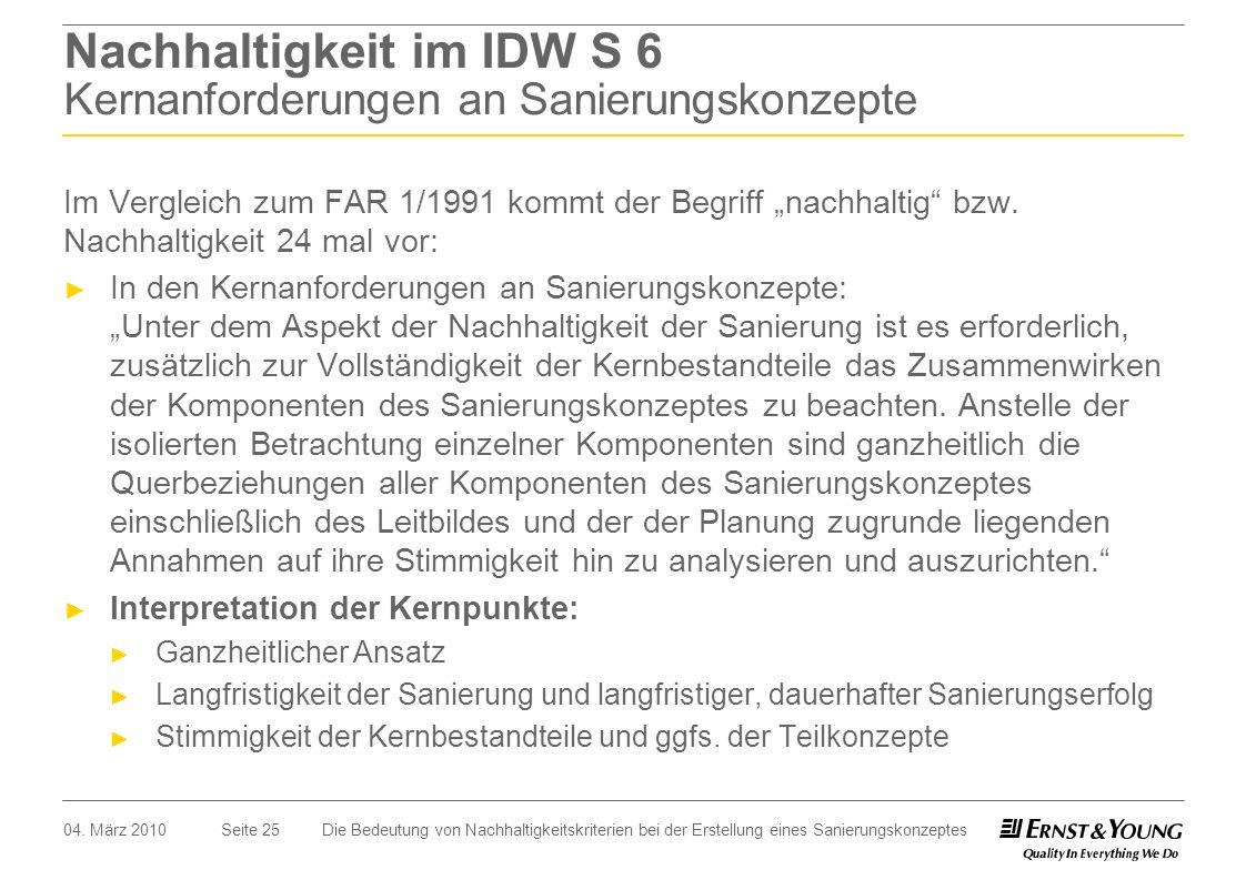 Seite 25 Nachhaltigkeit im IDW S 6 Kernanforderungen an Sanierungskonzepte Im Vergleich zum FAR 1/1991 kommt der Begriff nachhaltig bzw. Nachhaltigkei