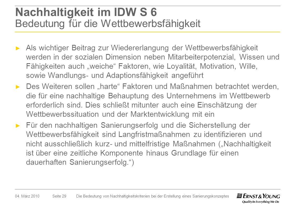 Seite 29 Nachhaltigkeit im IDW S 6 Bedeutung für die Wettbewerbsfähigkeit Als wichtiger Beitrag zur Wiedererlangung der Wettbewerbsfähigkeit werden in