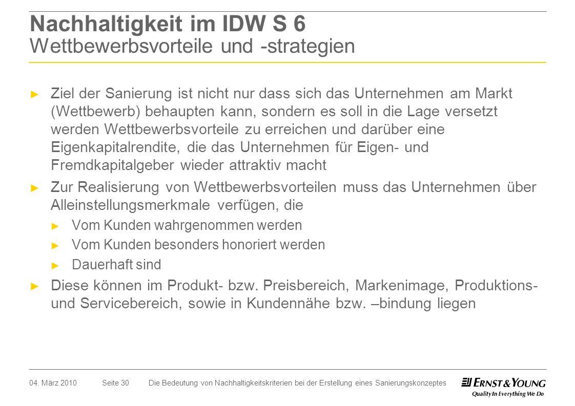 Seite 30 Nachhaltigkeit im IDW S 6 Wettbewerbsvorteile und -strategien Ziel der Sanierung ist nicht nur dass sich das Unternehmen am Markt (Wettbewerb