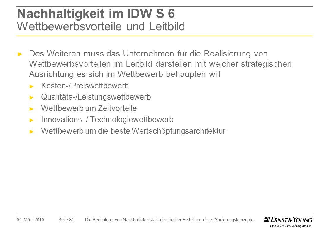 Seite 31 Nachhaltigkeit im IDW S 6 Wettbewerbsvorteile und Leitbild Des Weiteren muss das Unternehmen für die Realisierung von Wettbewerbsvorteilen im