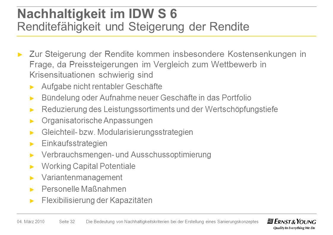 Seite 32 Nachhaltigkeit im IDW S 6 Renditefähigkeit und Steigerung der Rendite Zur Steigerung der Rendite kommen insbesondere Kostensenkungen in Frage