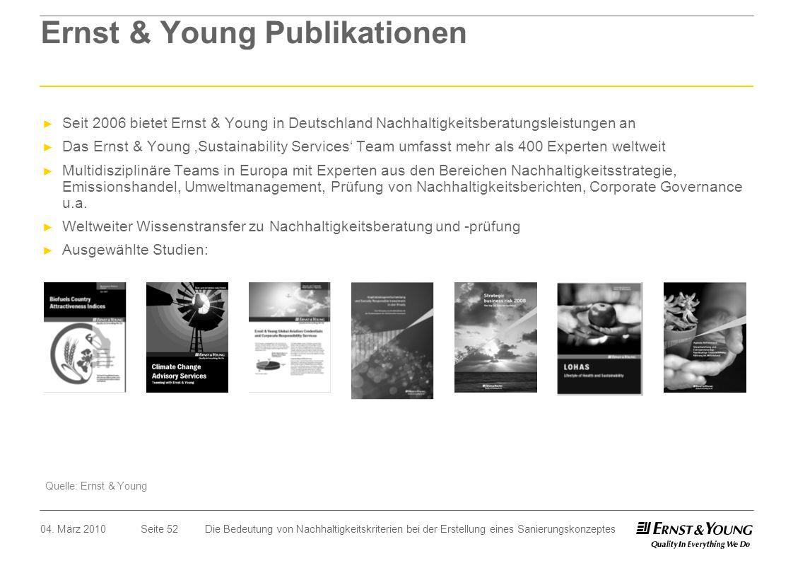 Seite 52 Ernst & Young Publikationen Seit 2006 bietet Ernst & Young in Deutschland Nachhaltigkeitsberatungsleistungen an Das Ernst & Young Sustainabil
