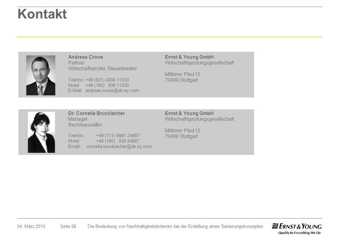 Seite 5804. März 2010 Kontakt Andreas Crone Partner Wirtschaftsprüfer, Steuerberater Telefon:+49 (621) 4208 11330 Mobil:+49 (160) 939 11330 E-Mail: an