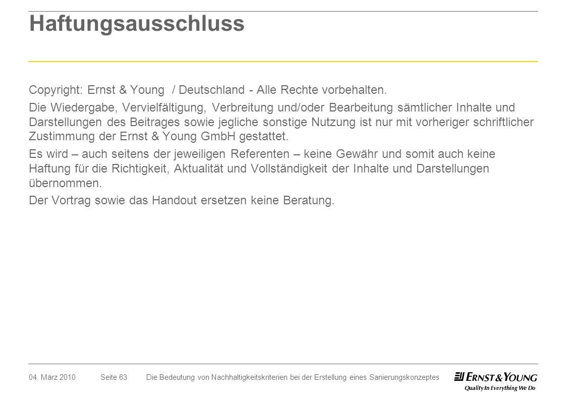 Seite 63 Haftungsausschluss Copyright: Ernst & Young / Deutschland - Alle Rechte vorbehalten. Die Wiedergabe, Vervielfältigung, Verbreitung und/oder B