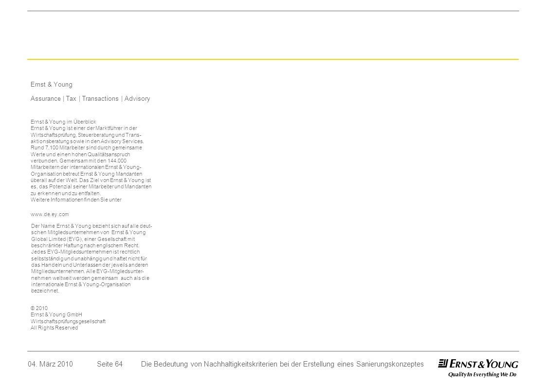Seite 64 Ernst & Young Assurance | Tax | Transactions | Advisory Ernst & Young im Überblick Ernst & Young ist einer der Marktführer in der Wirtschafts