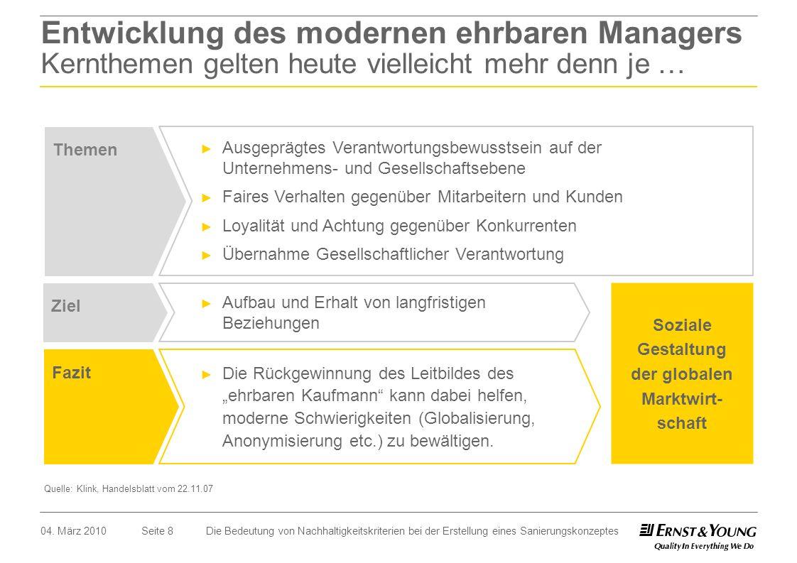 Seite 8 Entwicklung des modernen ehrbaren Managers Kernthemen gelten heute vielleicht mehr denn je … Soziale Gestaltung der globalen Marktwirt- schaft