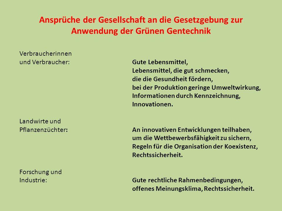 Ansprüche der Gesellschaft an die Gesetzgebung zur Anwendung der Grünen Gentechnik Verbraucherinnen und Verbraucher: Gute Lebensmittel, Lebensmittel,