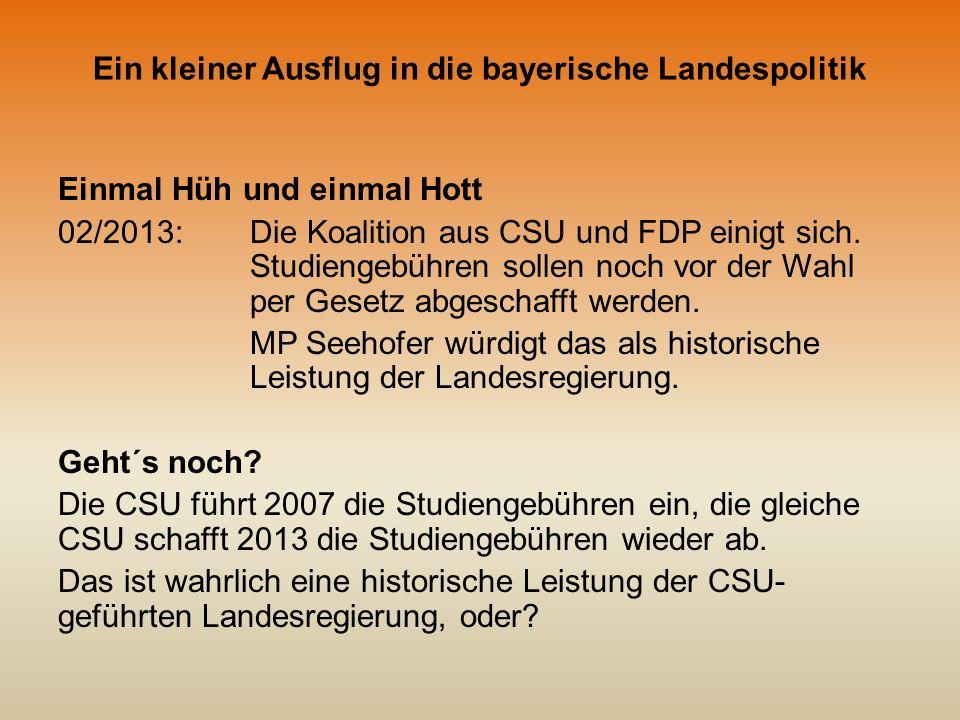 Ein kleiner Ausflug in die bayerische Landespolitik Einmal Hüh und einmal Hott 02/2013:Die Koalition aus CSU und FDP einigt sich.