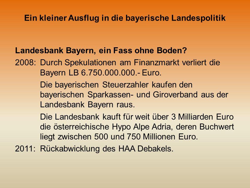 Ein kleiner Ausflug in die bayerische Landespolitik Landesbank Bayern, ein Fass ohne Boden.