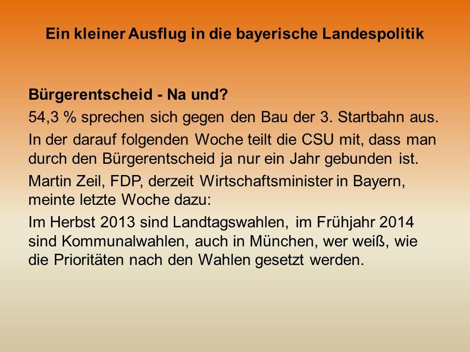 Ein kleiner Ausflug in die bayerische Landespolitik Und, was tut sich sonst noch so im Lande Bayern.