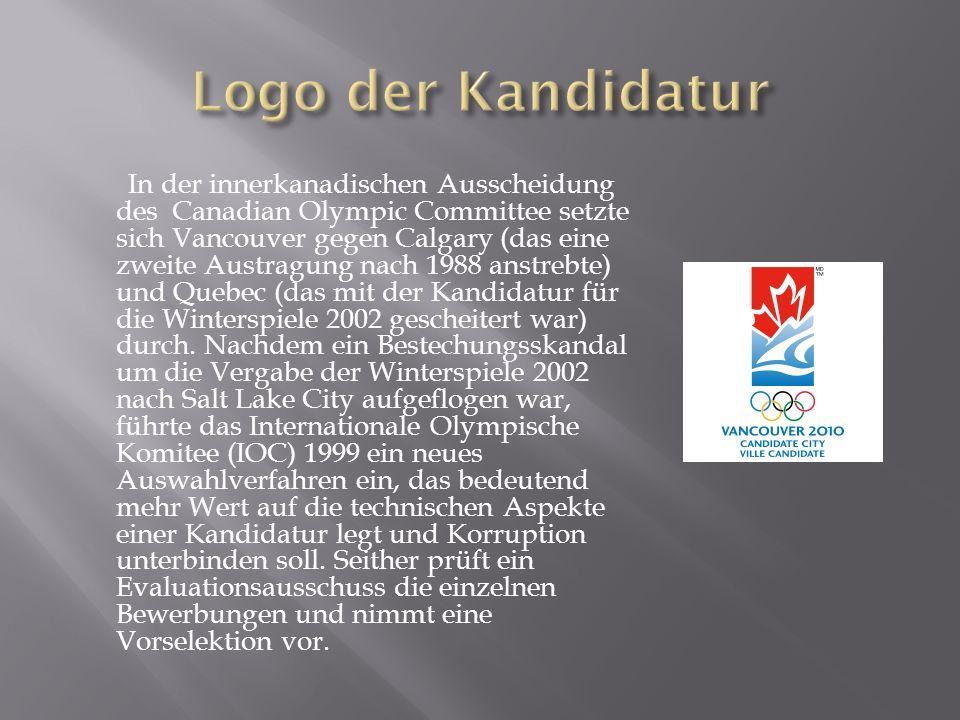 In der innerkanadischen Ausscheidung des Canadian Olympic Committee setzte sich Vancouver gegen Calgary (das eine zweite Austragung nach 1988 anstrebte) und Quebec (das mit der Kandidatur für die Winterspiele 2002 gescheitert war) durch.
