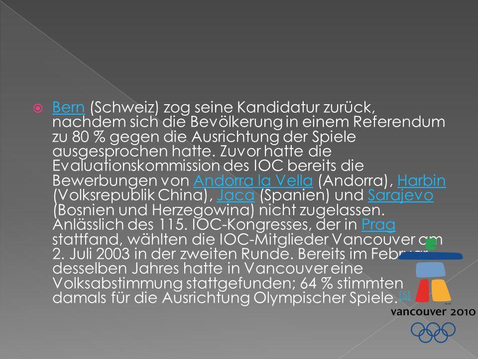 Bern (Schweiz) zog seine Kandidatur zurück, nachdem sich die Bevölkerung in einem Referendum zu 80 % gegen die Ausrichtung der Spiele ausgesprochen hatte.