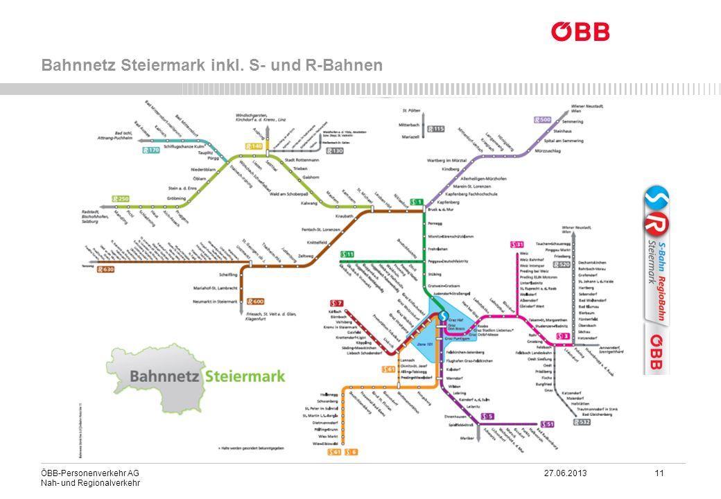 ÖBB-Personenverkehr AG 27.06.2013 11 Nah- und Regionalverkehr Bahnnetz Steiermark inkl. S- und R-Bahnen