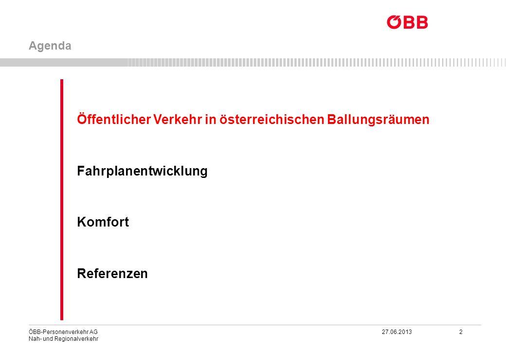 ÖBB-Personenverkehr AG 27.06.2013 2 Nah- und Regionalverkehr Öffentlicher Verkehr in österreichischen Ballungsräumen Fahrplanentwicklung Komfort Refer
