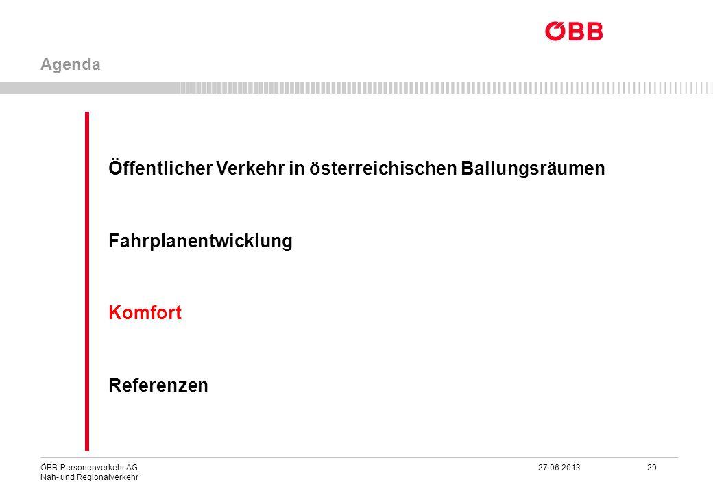 ÖBB-Personenverkehr AG 27.06.2013 29 Nah- und Regionalverkehr Öffentlicher Verkehr in österreichischen Ballungsräumen Fahrplanentwicklung Komfort Refe