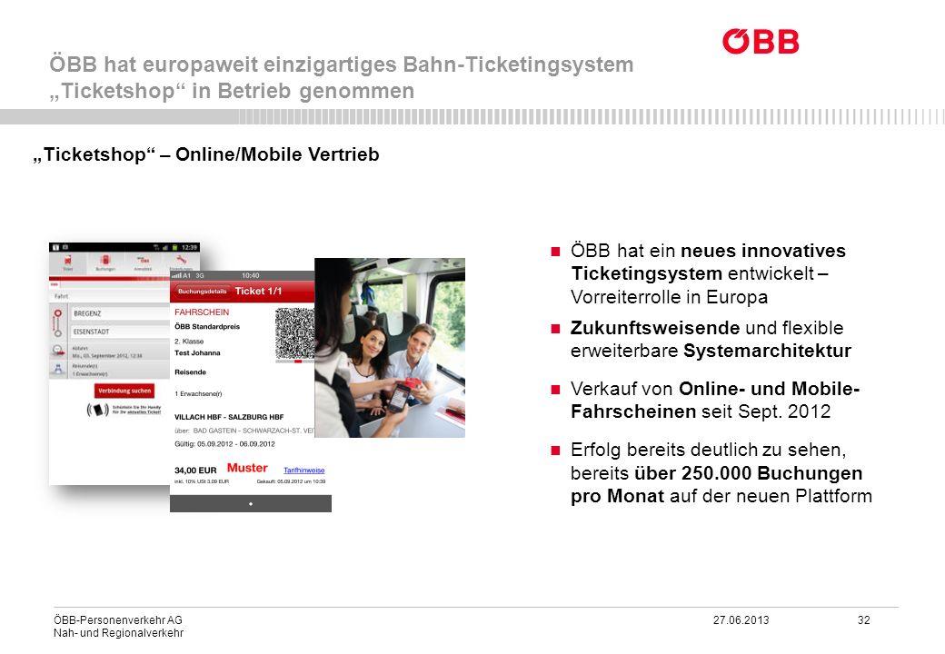 ÖBB-Personenverkehr AG 27.06.2013 32 Nah- und Regionalverkehr ÖBB hat europaweit einzigartiges Bahn-Ticketingsystem Ticketshop in Betrieb genommen ÖBB