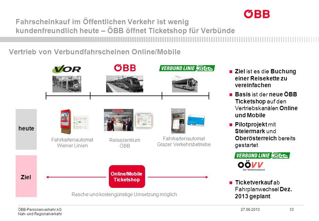 ÖBB-Personenverkehr AG 27.06.2013 33 Nah- und Regionalverkehr Ziel ist es die Buchung einer Reisekette zu vereinfachen Basis ist der neue ÖBB Ticketsh