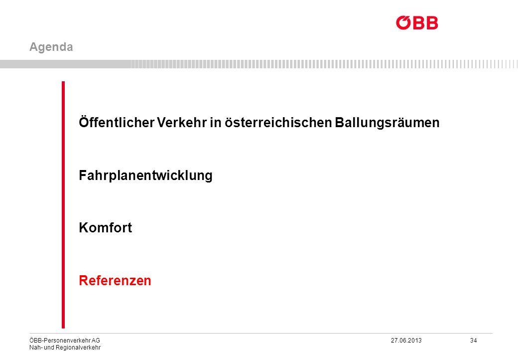 ÖBB-Personenverkehr AG 27.06.2013 34 Nah- und Regionalverkehr Öffentlicher Verkehr in österreichischen Ballungsräumen Fahrplanentwicklung Komfort Refe