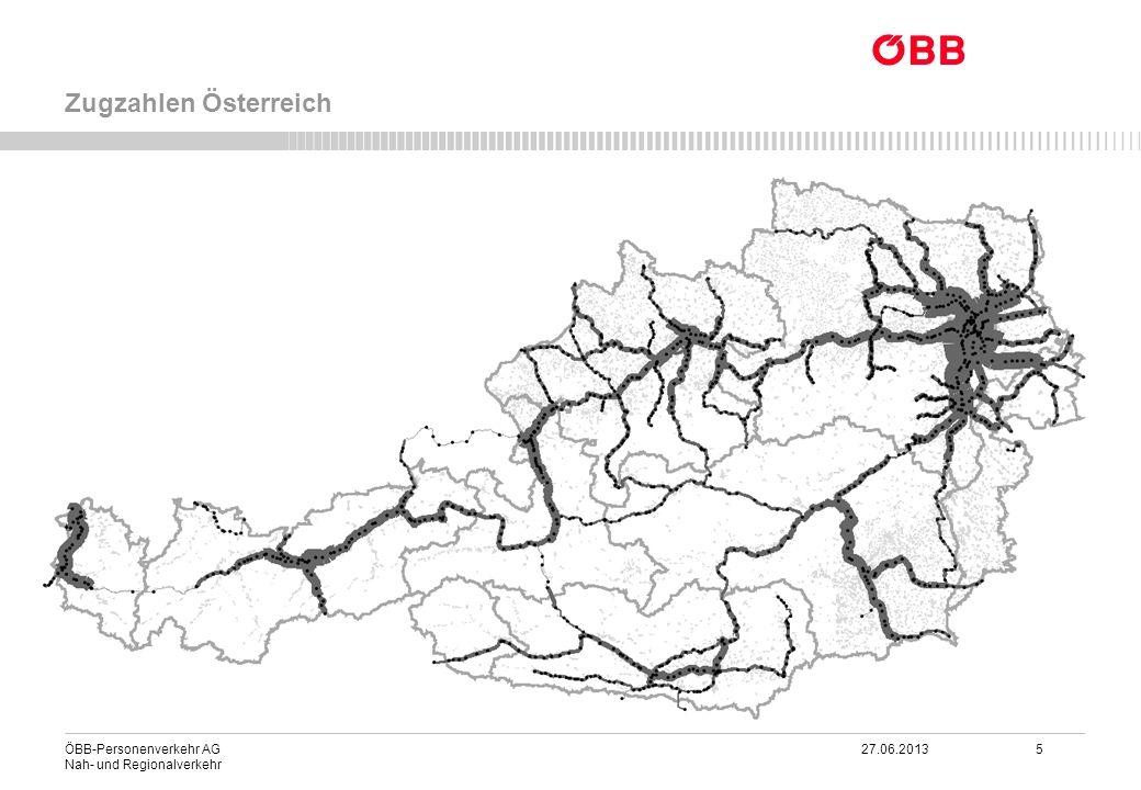ÖBB-Personenverkehr AG 27.06.2013 26 Nah- und Regionalverkehr Integrierter Taktfahrplan 2025 im Nahverkehr Mit dem Fahrplan 2014 am richtigen Weg zum Zielfahrplan Gänserndorf Sopron Wörgl Villach KLAGENFURT Lienz BREGENZ SALZBURG Schwarzach SV.