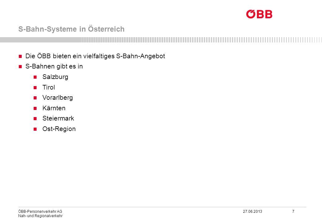 ÖBB-Personenverkehr AG 27.06.2013 7 Nah- und Regionalverkehr S-Bahn-Systeme in Österreich Die ÖBB bieten ein vielfaltiges S-Bahn-Angebot S-Bahnen gibt