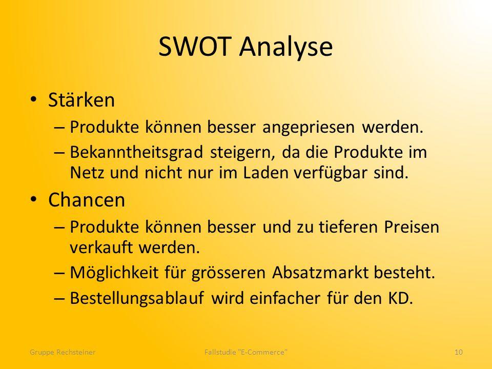 SWOT Analyse Stärken – Produkte können besser angepriesen werden. – Bekanntheitsgrad steigern, da die Produkte im Netz und nicht nur im Laden verfügba
