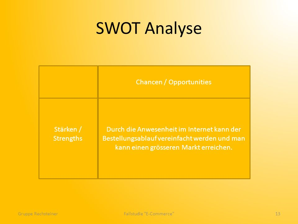 SWOT Analyse Gruppe RechsteinerFallstudie E-Commerce 13 Stärken / Strengths Durch die Anwesenheit im Internet kann der Bestellungsablauf vereinfacht werden und man kann einen grösseren Markt erreichen.