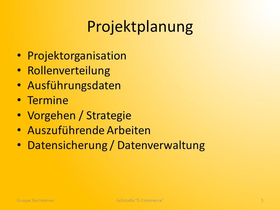 Projektplanung Projektorganisation Rollenverteilung Ausführungsdaten Termine Vorgehen / Strategie Auszuführende Arbeiten Datensicherung / Datenverwaltung Gruppe RechsteinerFallstudie E-Commerce 3