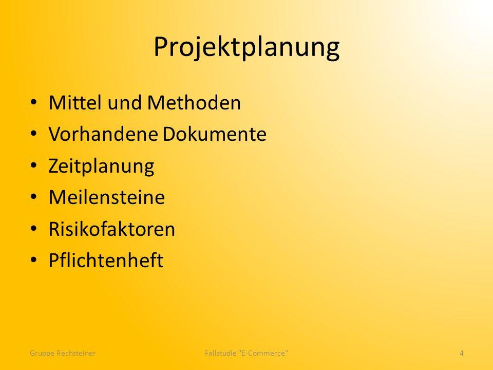 Projektplanung Mittel und Methoden Vorhandene Dokumente Zeitplanung Meilensteine Risikofaktoren Pflichtenheft Gruppe RechsteinerFallstudie