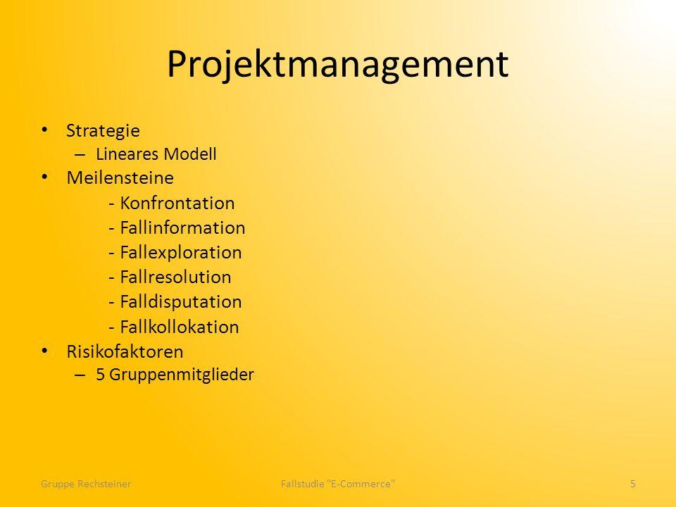 Projektmanagement Strategie – Lineares Modell Meilensteine - Konfrontation - Fallinformation - Fallexploration - Fallresolution - Falldisputation - Fallkollokation Risikofaktoren – 5 Gruppenmitglieder Gruppe RechsteinerFallstudie E-Commerce 5