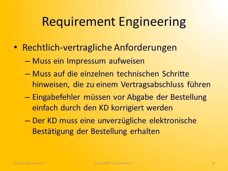 Requirement Engineering Rechtlich-vertragliche Anforderungen – Muss ein Impressum aufweisen – Muss auf die einzelnen technischen Schritte hinweisen, d