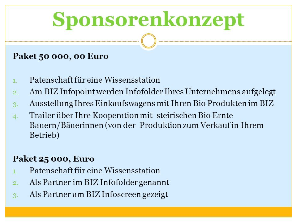 Sponsorenkonzept Paket 50 000, 00 Euro 1. Patenschaft für eine Wissensstation 2. Am BIZ Infopoint werden Infofolder Ihres Unternehmens aufgelegt 3. Au