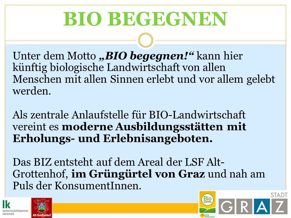 BIO BEGEGNEN Unter dem Motto BIO begegnen! kann hier künftig biologische Landwirtschaft von allen Menschen mit allen Sinnen erlebt und vor allem geleb
