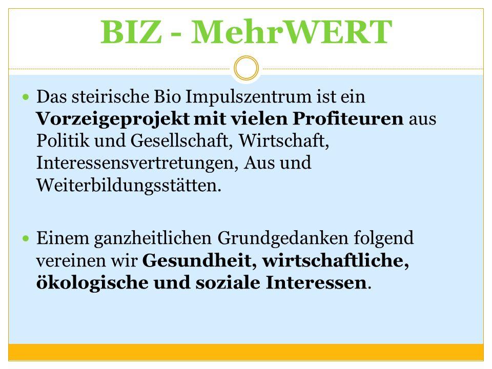 BIZ - MehrWERT Das steirische Bio Impulszentrum ist ein Vorzeigeprojekt mit vielen Profiteuren aus Politik und Gesellschaft, Wirtschaft, Interessensve