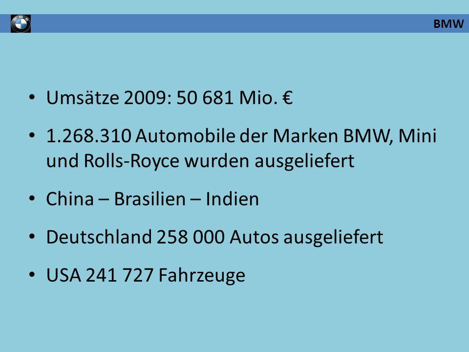 Umsätze 2009: 50 681 Mio. 1.268.310 Automobile der Marken BMW, Mini und Rolls-Royce wurden ausgeliefert China – Brasilien – Indien Deutschland 258 000