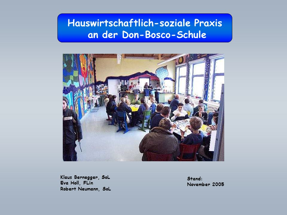 Klaus Bernegger, SoL Eva Holl, FLin Robert Neumann, SoL Hauswirtschaftlich-soziale Praxis an der Don-Bosco-Schule Stand: November 2005