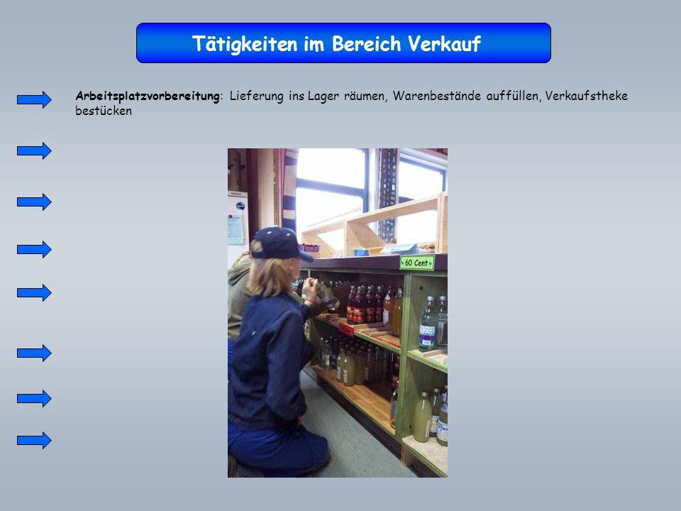Tätigkeiten im Bereich Verkauf Arbeitsplatzvorbereitung: Lieferung ins Lager räumen, Warenbestände auffüllen, Verkaufstheke bestücken