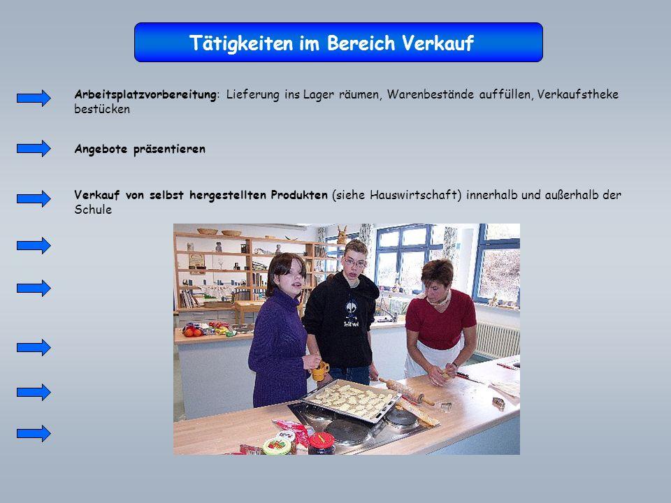 Tätigkeiten im Bereich Verkauf Arbeitsplatzvorbereitung: Lieferung ins Lager räumen, Warenbestände auffüllen, Verkaufstheke bestücken Angebote präsent