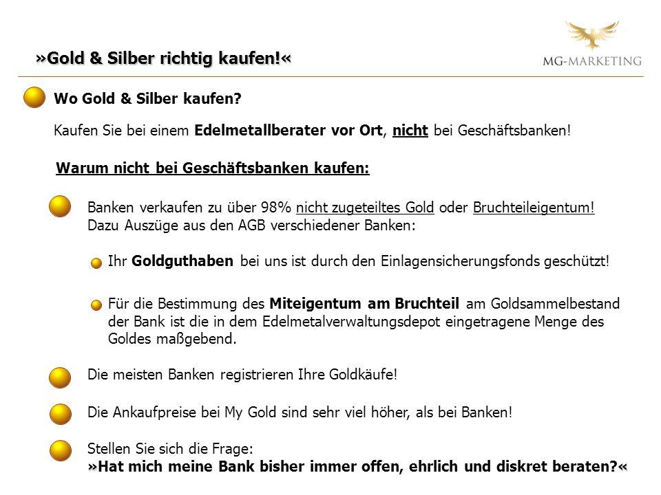 Warum nicht bei Geschäftsbanken kaufen: Banken verkaufen zu über 98% nicht zugeteiltes Gold oder Bruchteileigentum! Dazu Auszüge aus den AGB verschied