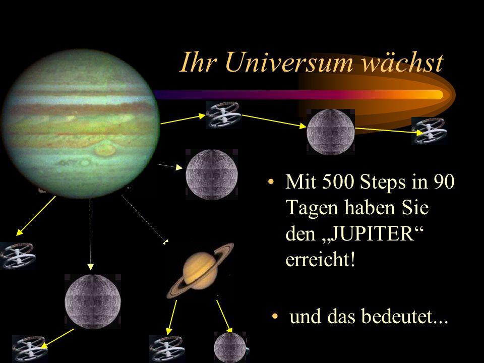Ihr Universum wächst Nun richten Sie Ihren Bordcomputer auf das neue Ziel aus, das da heißt: 500 Steps in 90 Tagen