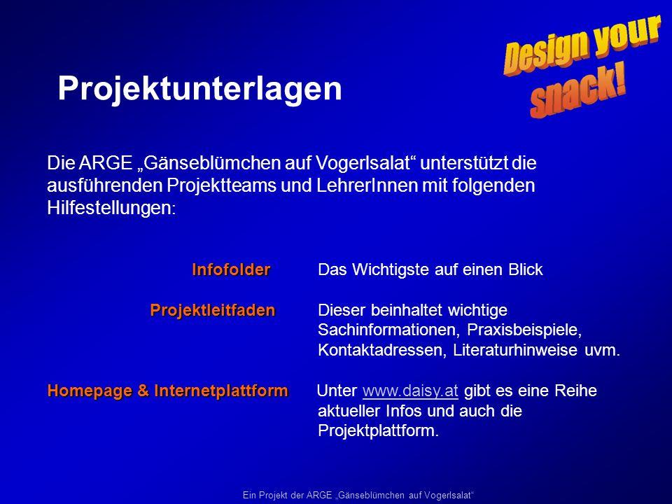 Ein Projekt der ARGE Gänseblümchen auf Vogerlsalat PROJEKTFAHRPLAN ab November 2006: ab November 2006: Projektdurchführungsphase (Durchführung der Teilprojekte) 15.