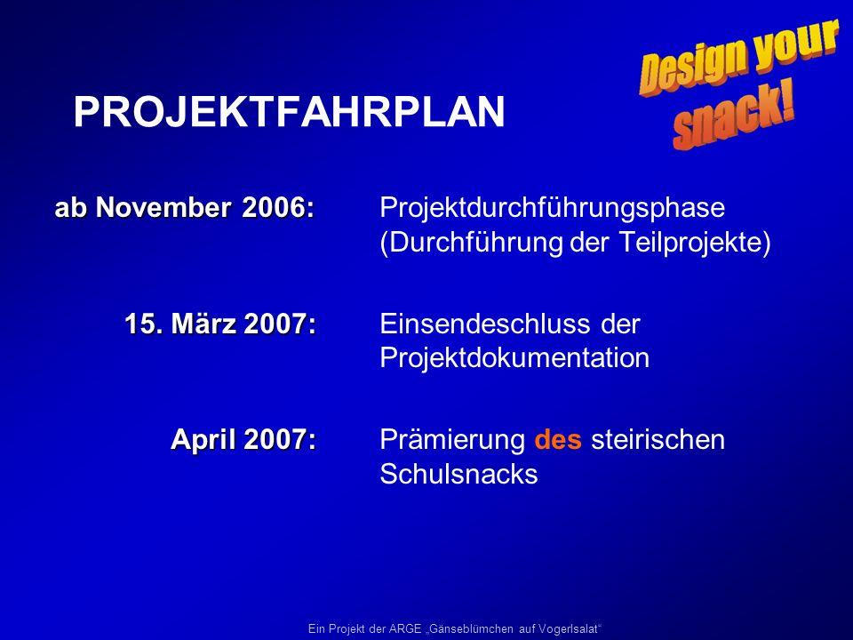 Ein Projekt der ARGE Gänseblümchen auf Vogerlsalat PROJEKTFAHRPLAN ab November 2006: ab November 2006: Projektdurchführungsphase (Durchführung der Tei