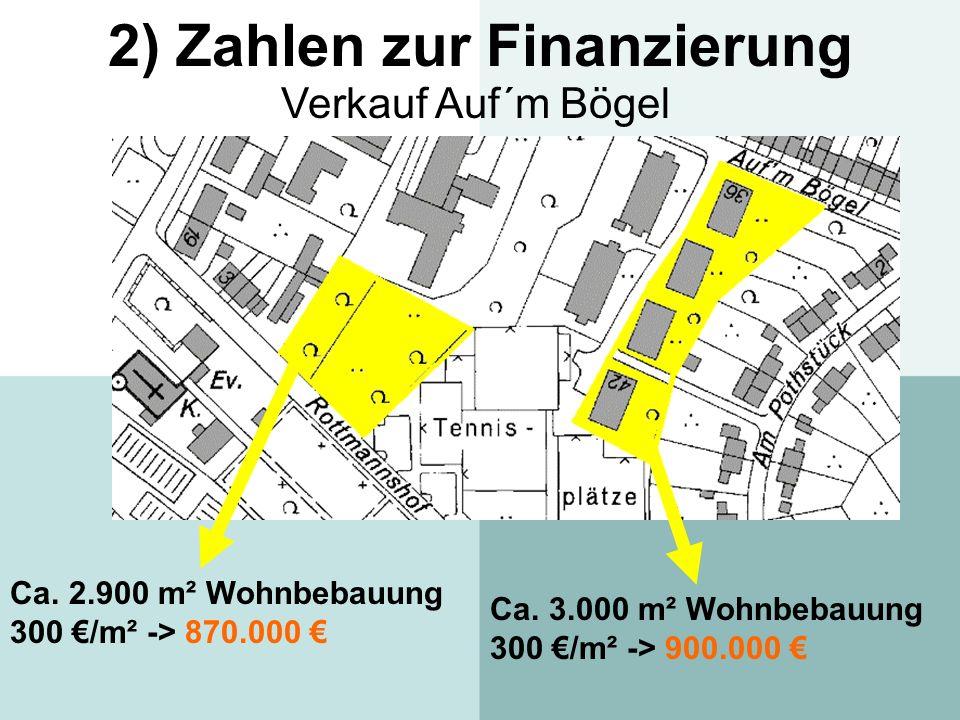 2) Zahlen zur Finanzierung Verkauf Auf´m Bögel Ca. 2.900 m² Wohnbebauung 300 /m² -> 870.000 Ca. 3.000 m² Wohnbebauung 300 /m² -> 900.000