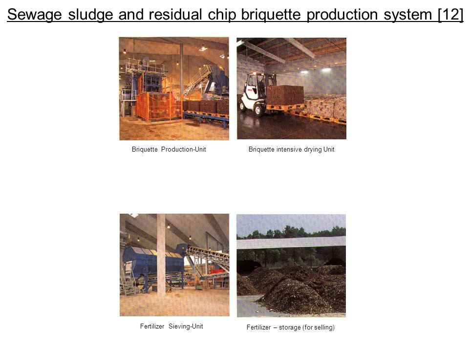 Sewage sludge and residual chip briquette production system [12] Briquette Production-UnitBriquette intensive drying Unit Fertilizer Sieving-Unit Fert
