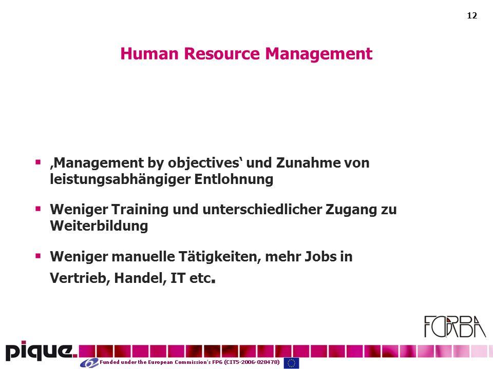12 Management by objectives und Zunahme von leistungsabhängiger Entlohnung Weniger Training und unterschiedlicher Zugang zu Weiterbildung Weniger manuelle Tätigkeiten, mehr Jobs in Vertrieb, Handel, IT etc.