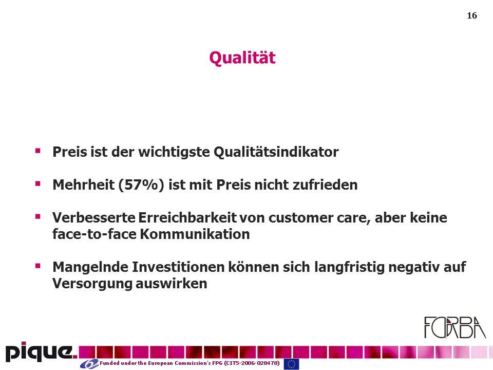 16 Preis ist der wichtigste Qualitätsindikator Mehrheit (57%) ist mit Preis nicht zufrieden Verbesserte Erreichbarkeit von customer care, aber keine face-to-face Kommunikation Mangelnde Investitionen können sich langfristig negativ auf Versorgung auswirken Qualität