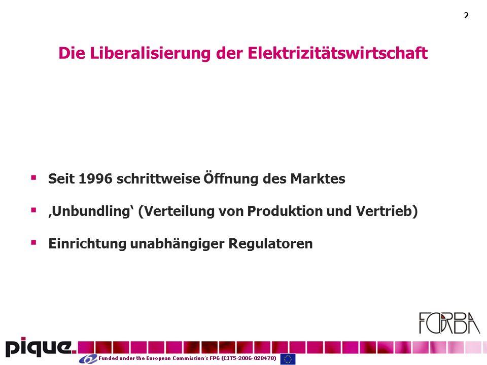 2 Seit 1996 schrittweise Öffnung des Marktes Unbundling (Verteilung von Produktion und Vertrieb) Einrichtung unabhängiger Regulatoren Die Liberalisierung der Elektrizitätswirtschaft