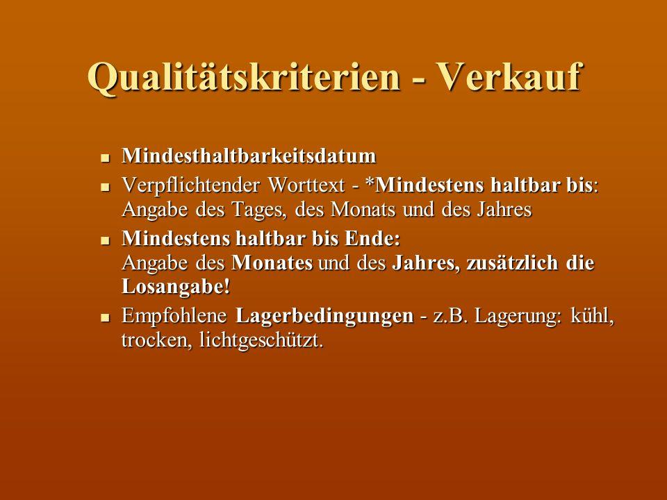 Qualitätskriterien - Verkauf Mindesthaltbarkeitsdatum Mindesthaltbarkeitsdatum Verpflichtender Worttext - *Mindestens haltbar bis: Angabe des Tages, d