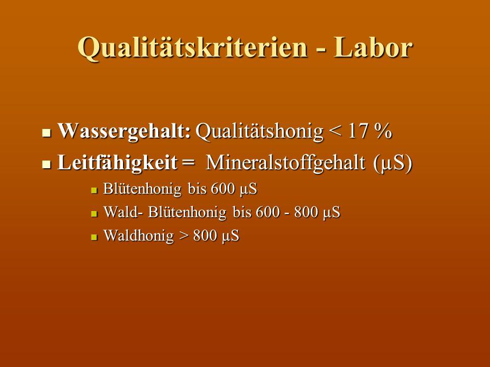 Qualitätskriterien - Labor Wassergehalt: Qualitätshonig < 17 % Wassergehalt: Qualitätshonig < 17 % Leitfähigkeit = Mineralstoffgehalt (µS) Leitfähigke